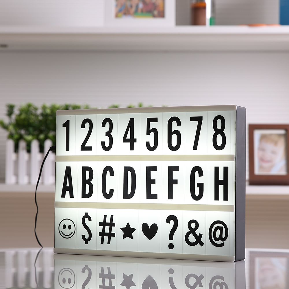 2017 New A4 Size LED Cinematic Light Box with DIY 90 PCS BLACK Letters Cards 3AA BATTERY or USB PORT Powered Cinema Lightbox