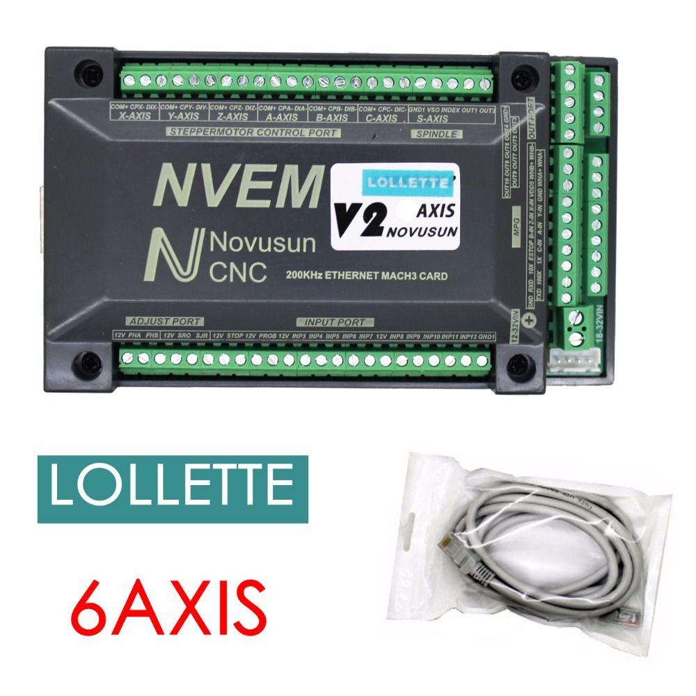 2018 NVEM V2 6-Axis version CNC <font><b>Controller</b></font> 300KHZ Ethernet MACH3 Motion Control Card for Stepper Motor