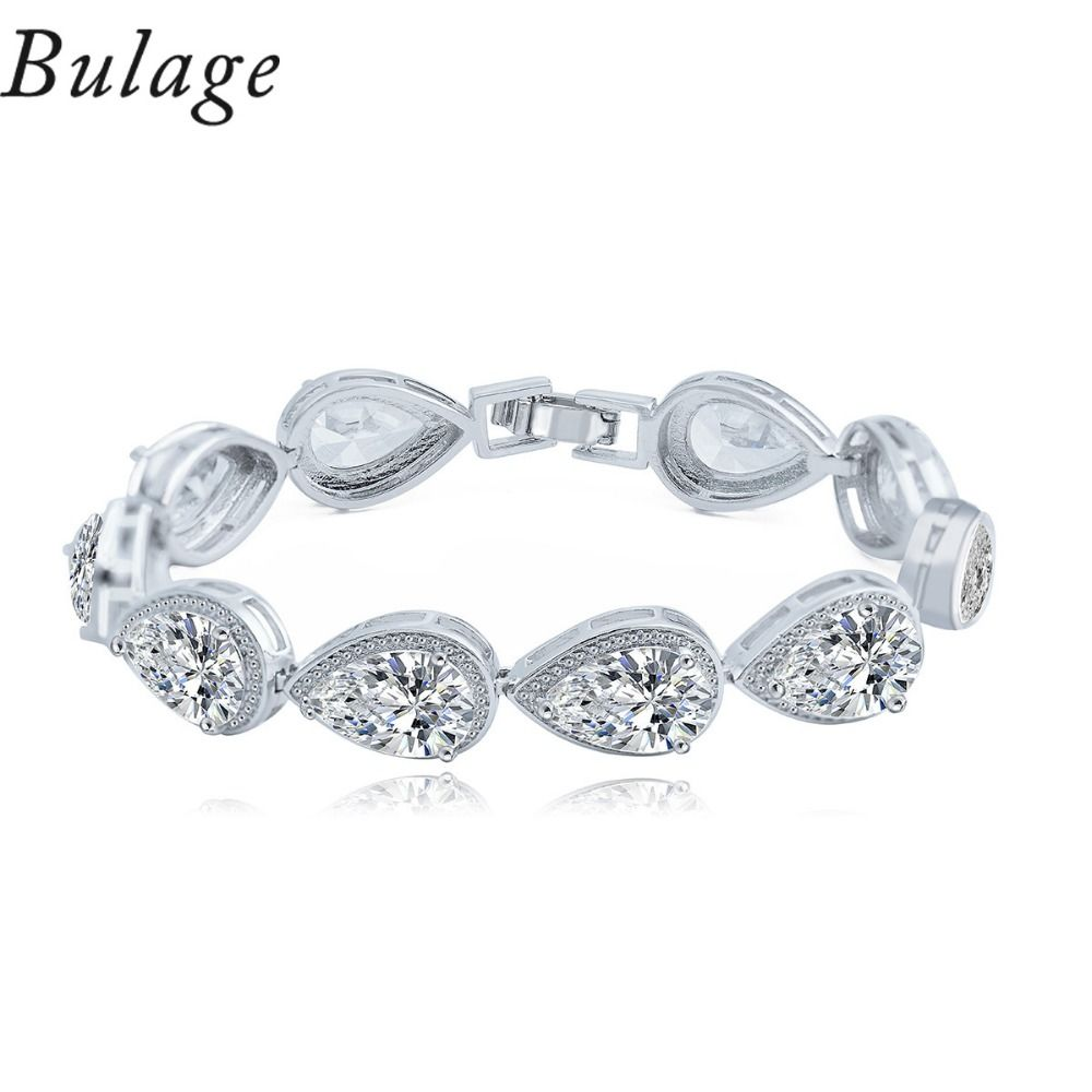 Bulage Korean Fashion Simple Design Of Two kinds Of Color White Color And Water Drop Cubic Zirconia Bracelet For Women Gift