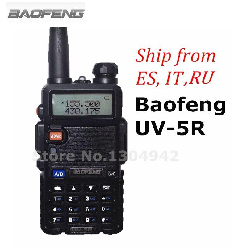 BaoFeng UV-5R Talkie Walkie à Deux Voies Radio FM Émetteur-Récepteur Interphone Dual-band DTMF Codé VOX Alarme LED lampe de Poche Clé serrure