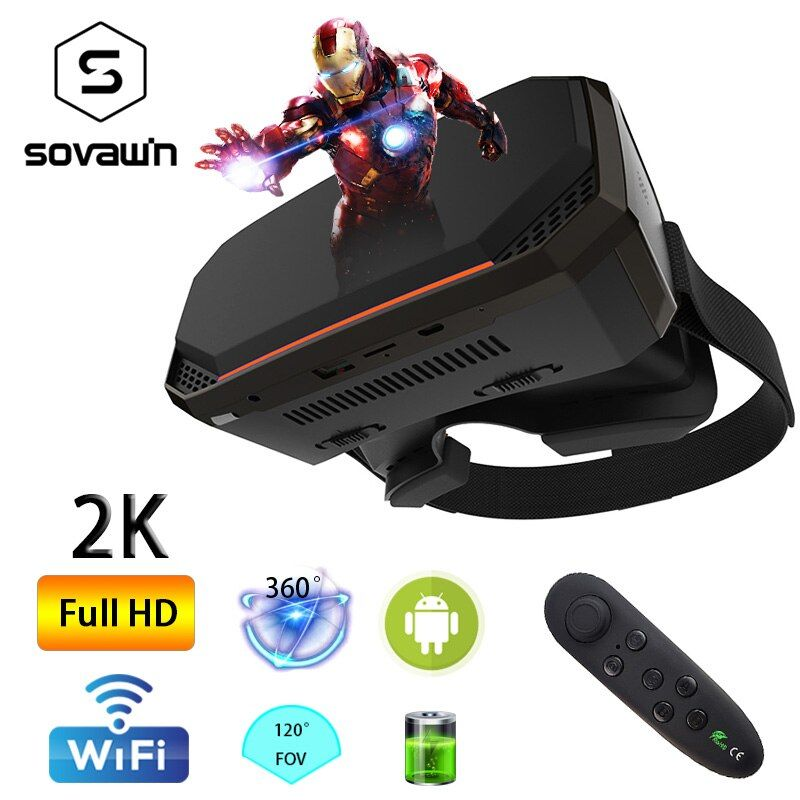 Wi-Fi 2K HDMI All in One 360 Degree Virtual Reality Glasses Immersive VR Headset 3D Android Cardboard with Controller 2GB/16GB