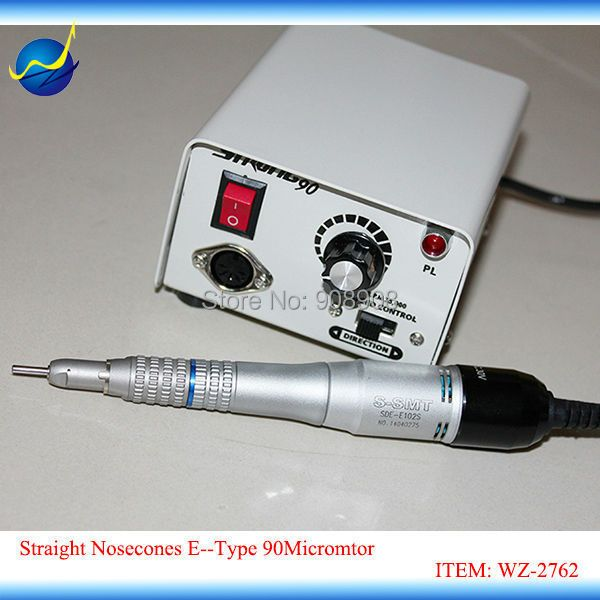 35000rpm Straight Nosecones DC 30V E102S E-Type Motor & Strong 90 Iron Micromotor for Dental Lab, Nail Drill File