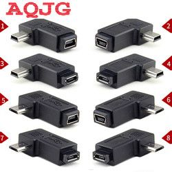 90 Degree Left & Right Angled Mini USB 5pin Female to Micro USB Male Data Sync Adapter Plug Micro USB To Mini USB Connector