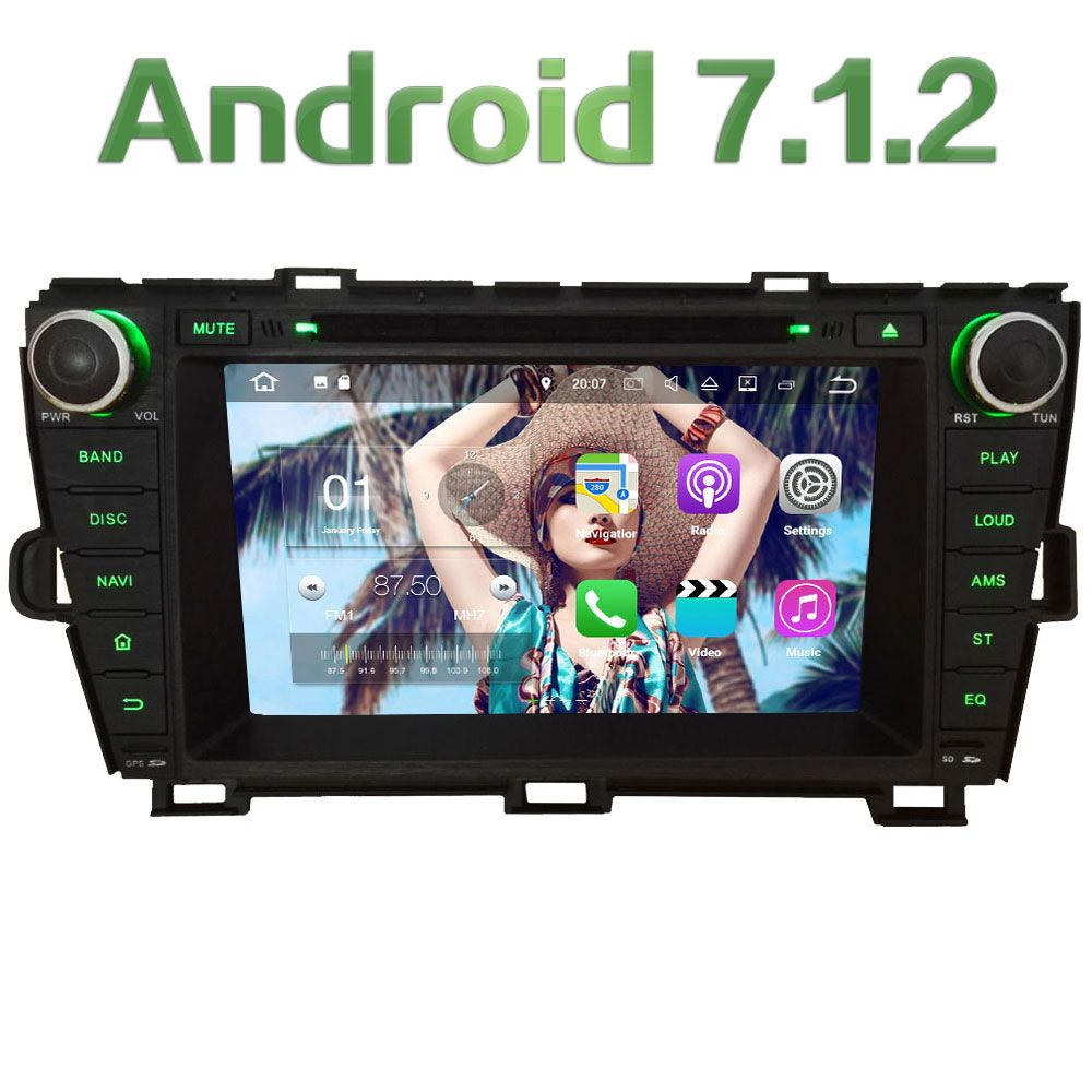 8'' 2GB RAM Quad Core 4G Android 7.1.2 DAB+ Wifi Multimedia Car DVD Player Stereo Radio GPS Navi for Toyota Prius LHD 2009-2015