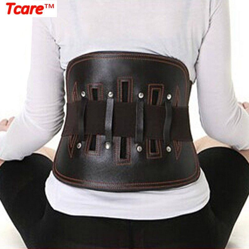 Infot En Cuir corset orthopédique Soulagement de La Douleur support lombaire Ceinture pour Femmes et Hommes-Réglable sangle de ceinture pour Sciatique, Scolios