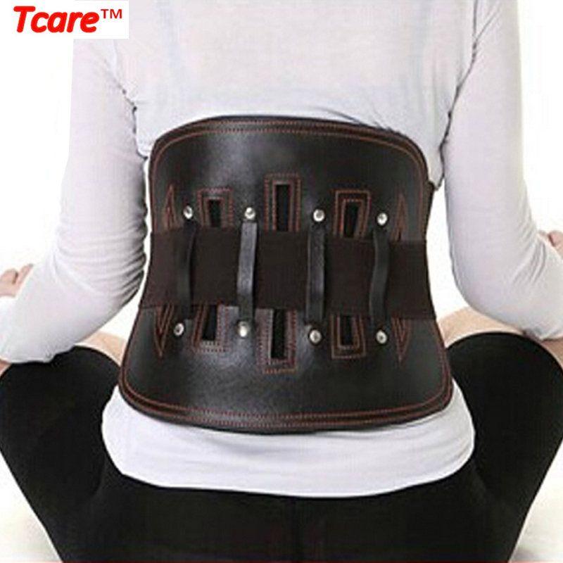 Tcare ceinture de soutien lombaire en cuir pour femmes et hommes-sangles de taille réglables pour sciatique, Scolios