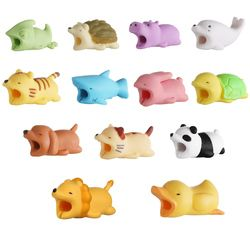 1 Pcs Cable Protector for iPhone Cable Charger USB Cable Winder Holder Accessory Organizer Cute Animal Doll Model Funny