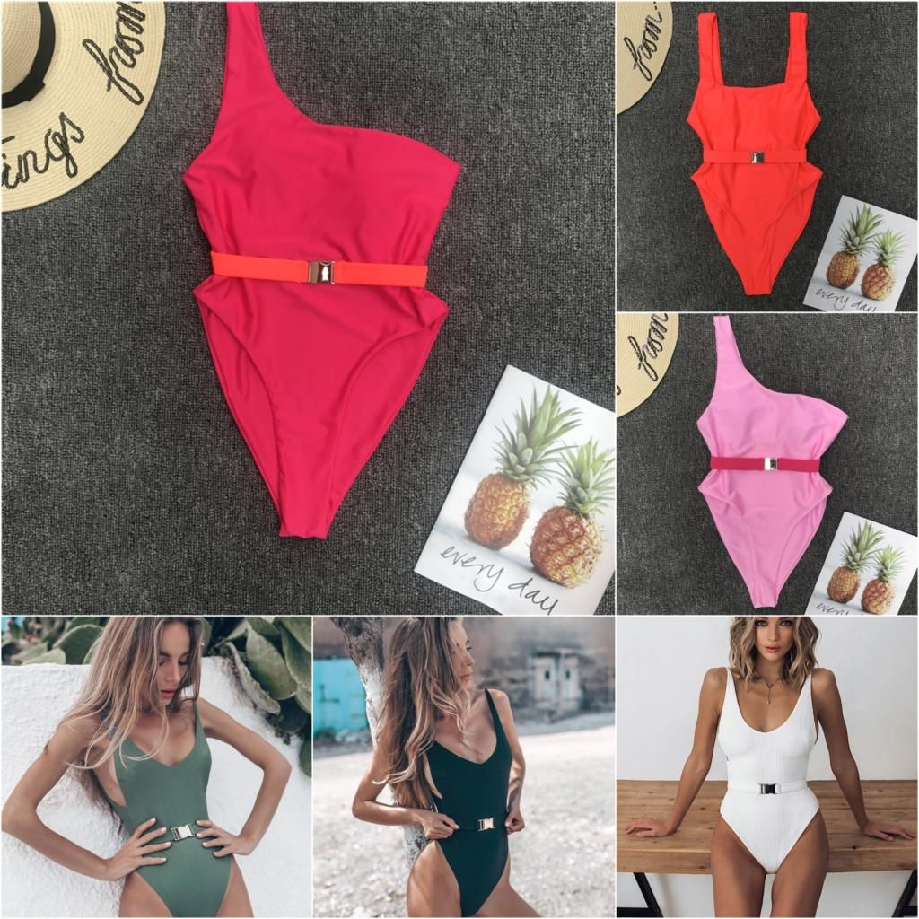 2019 Maillot De Bain Badpak Swimwear Women Sexy Pure Color One Piece Swimsuit Metal Belt Swimsuit Swimming Suit For Women