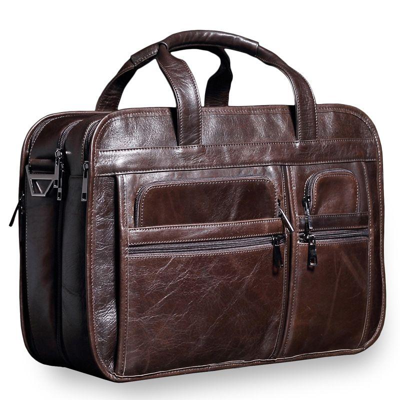 NEW Genuine Leather Business briefcase Laptop bags handbag Vintage Large capacity Natural leather Travel bag soft skin handbag
