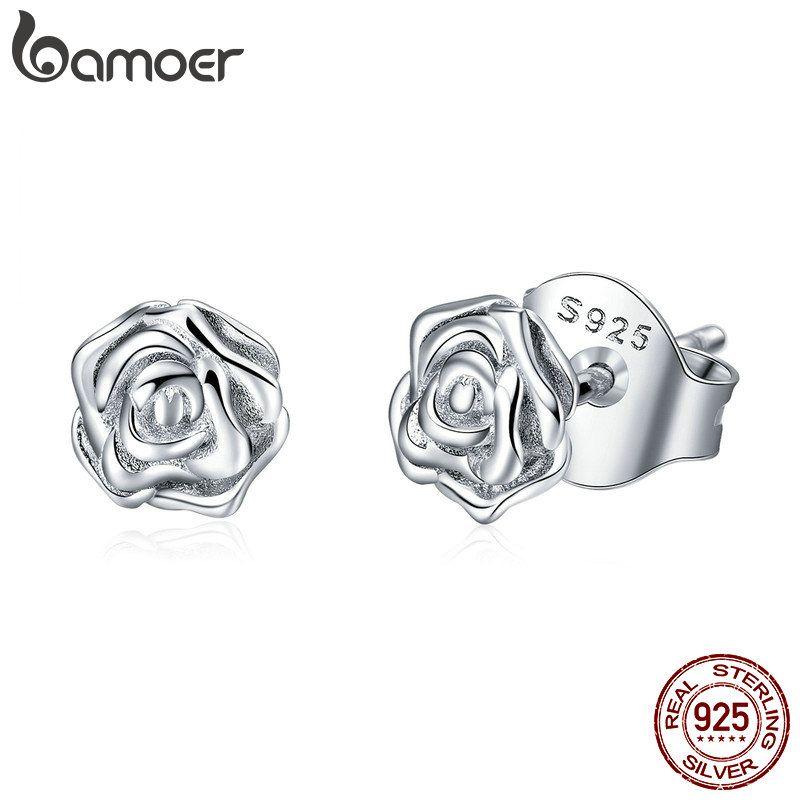BAMOER Authentische 925 Sterling Silber Romantische Rose Blume Stud Ohrringe für Frauen Mode Sterling Silber Schmuck BSE012