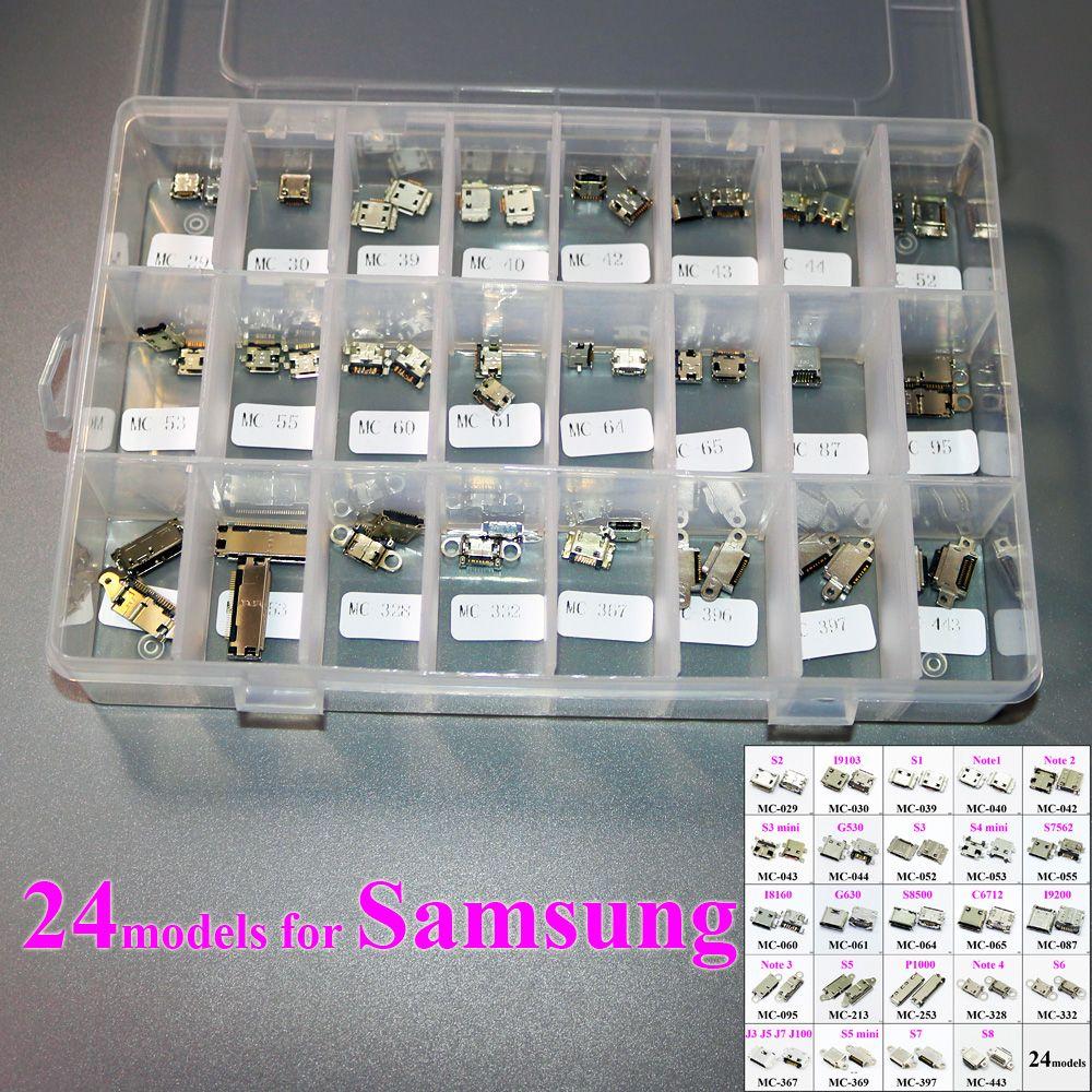 ChengHaoRan 24 modèles Micro USB Connecteur Prise De Charge Port Flex Câble Pièces de Rechange pour Samsung S8 S7 S5 S6 J5 Note3 S3 mini