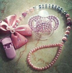 Personnalisé-n'importe quel nom ensemble superbe rose bling porte sucette clip factice clip avec bling sucette pour belle bébé