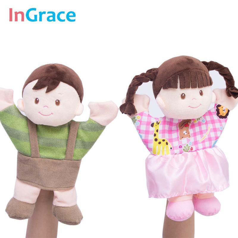 InGrace marque mignon garçon et fille couple marionnettes à main pour enfant en bas âge d'apprentissage de haute qualité en peluche marionnette jouet 30 cm rose