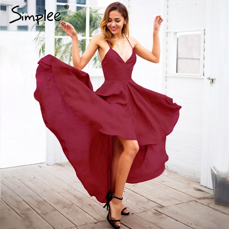 Simplee Sexy strap backless summer dress women Wine red lace up maxi dress Elegant party dresses female high waist vestidos