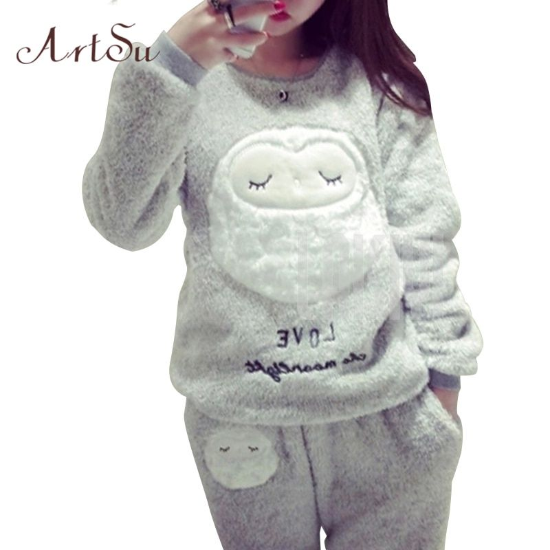 ArtSu Winter New <font><b>Thickened</b></font> Cute Sleeping Owl Coral Fleece Pajamas Home Furnishing Suit Coral Velvet Home Wear Leisure Wear 9123
