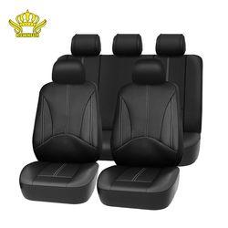 1kомплект Новый Дизайн Роскошный Кожаный PU Авто Универсальный чехол на сиденья автомобиля Черные чехлы на автомобильные сиденья для машины ...