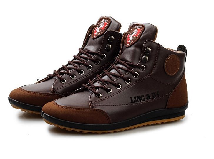 2017 Zapatos de Los Hombres de Moda Caliente Caliente Otoño Invierno Hombre Botas Calzado Hombre Nuevo Top del Alto de cuero de Cuero otoño Zapatos Casuales zapatillas de deporte