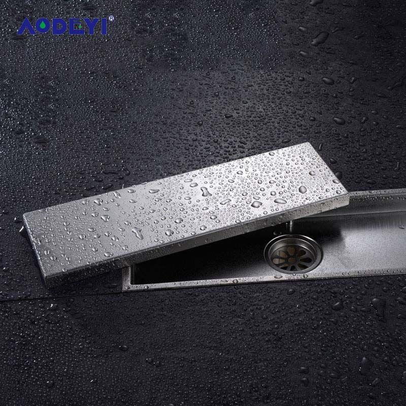 AODEYI 304 solide en acier inoxydable 300X110mm carré Anti-odeur sol Drain salle de bains Invisible douche plancher Drain