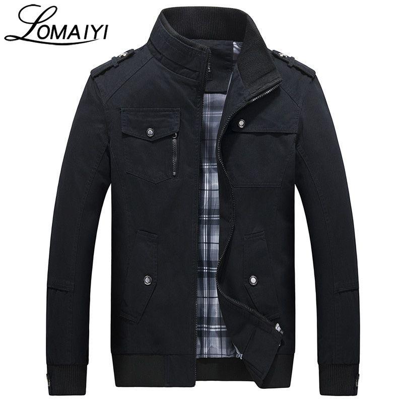 LOMAIYI Pure Cotton Bomber Jacket Men Slim Outerwear Coats Black Mens <font><b>Autumn</b></font> Jackets With Many Pockets Men's Windbreaker,BM056