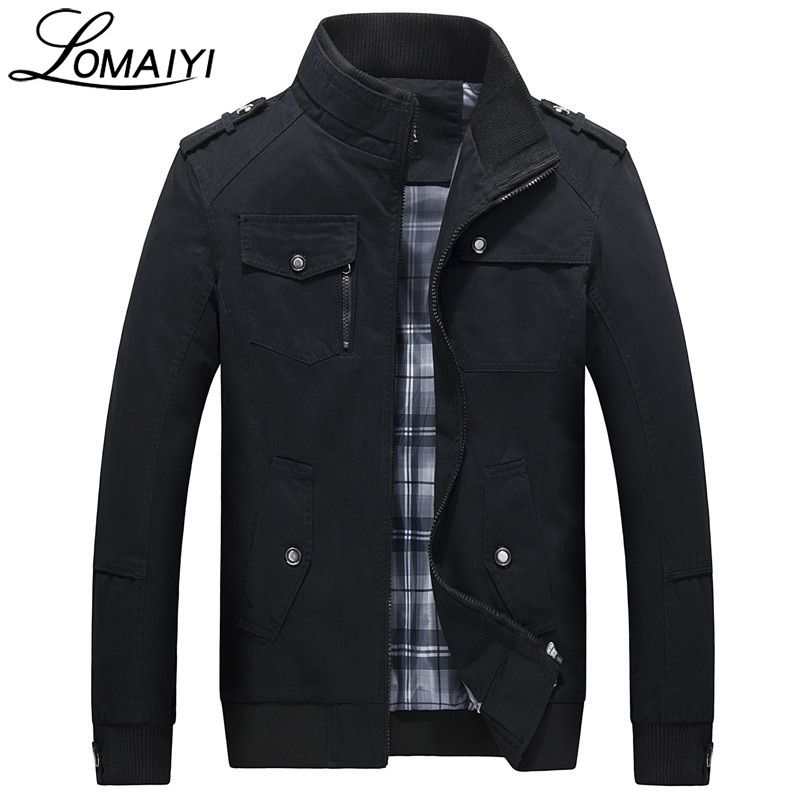 LOMAIYI Pure Cotton Bomber Jacket Men Slim Outerwear Coats Black Mens Autumn Jackets With Many Pockets Men's Windbreaker,BM056