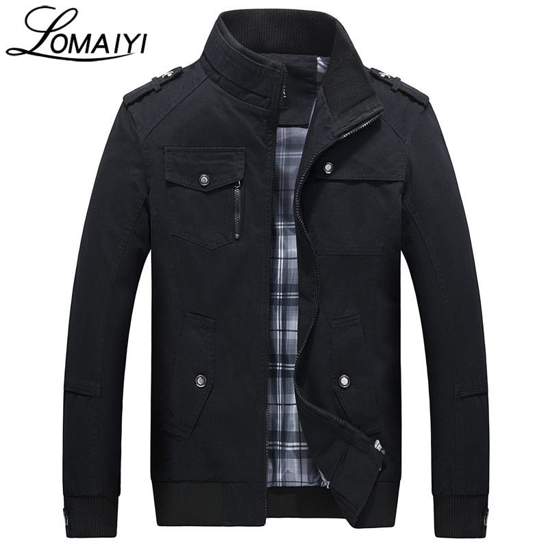 LOMAIYI Pure Cotton Bomber Jacket Men Slim Outerwear Coats Black Mens Autumn Jackets With Many Pockets Men's Windbreaker,BM056