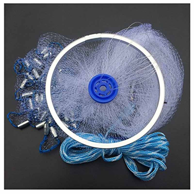 Cast Nets 2.4M-4.2M with Sinker and Heavy Ring American Catch Fishing Net Small Mesh Fly Hand Throw Gill Network Trap Fishing