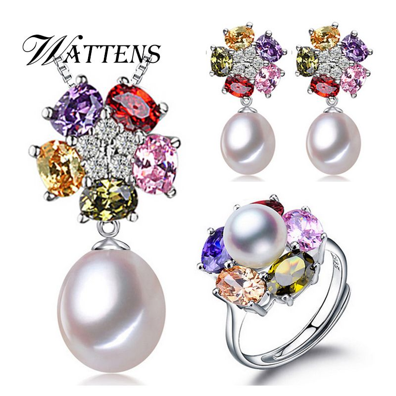 Jewelry sets,Natural freshwater pearl jewelry gifts accessories for women,pearl silver pendant necklace stud earrings ring sets