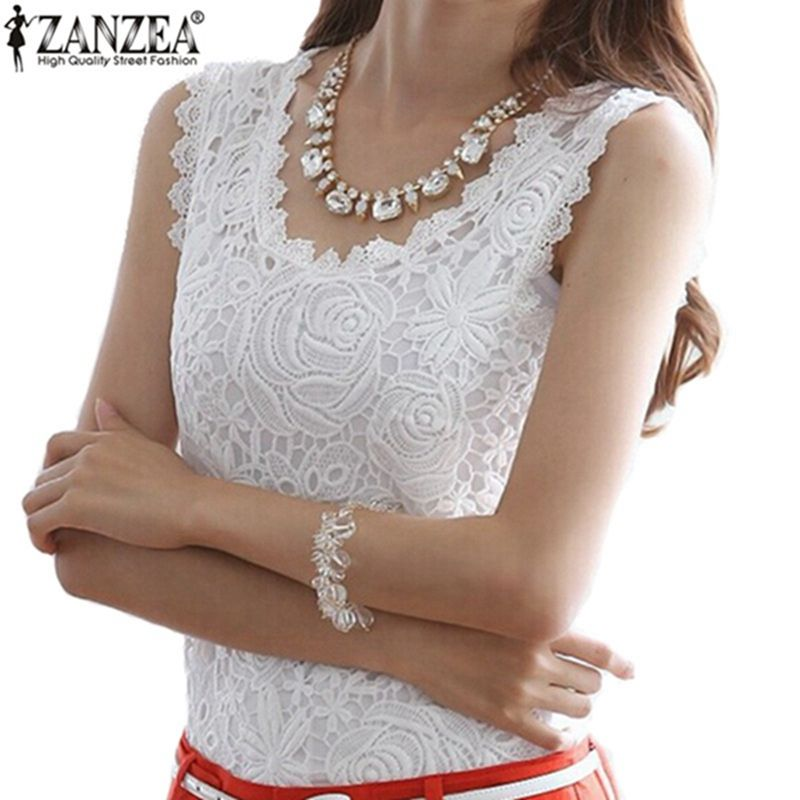 New Fashion Women Ladies Tank Top 2018 Summer Style Lace Floral T Shirt O Neck Sleeveless Casual Slim Black White Tops S-4XL