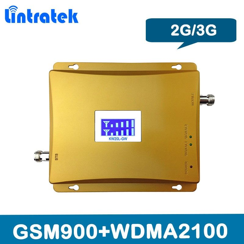 Lintratek LCD Display 3G 2100MHz GSM 900Mhz Dual Band Cell Phone Signal Booster GSM 900 2100 UMTS Signal Repeater Amplifier