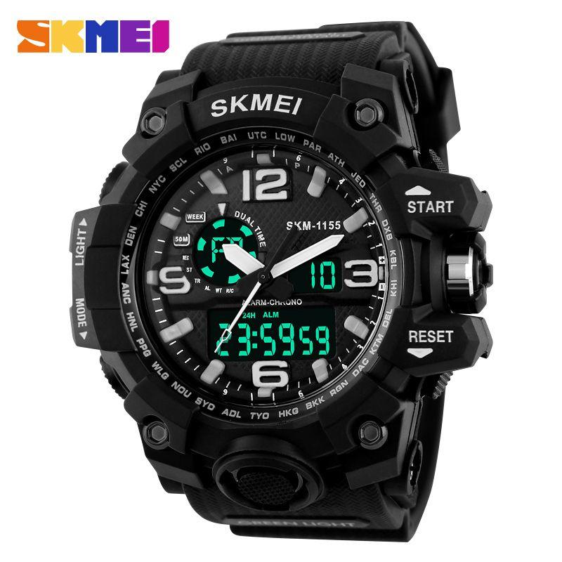 Fashion Sport Super Cool Men's <font><b>Quartz</b></font> Digital Watch Men Sports Watches SKMEI Luxury Brand LED Military Waterproof Wristwatches