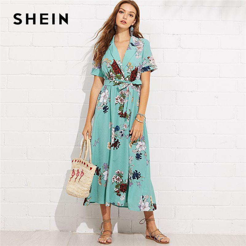 SHEIN Turquoise Vacation Boho Bohemian Beach Notch Collar Wrap <font><b>Front</b></font> Belted Botanical Dress Summer Women Short Sleeve Maxi Dress