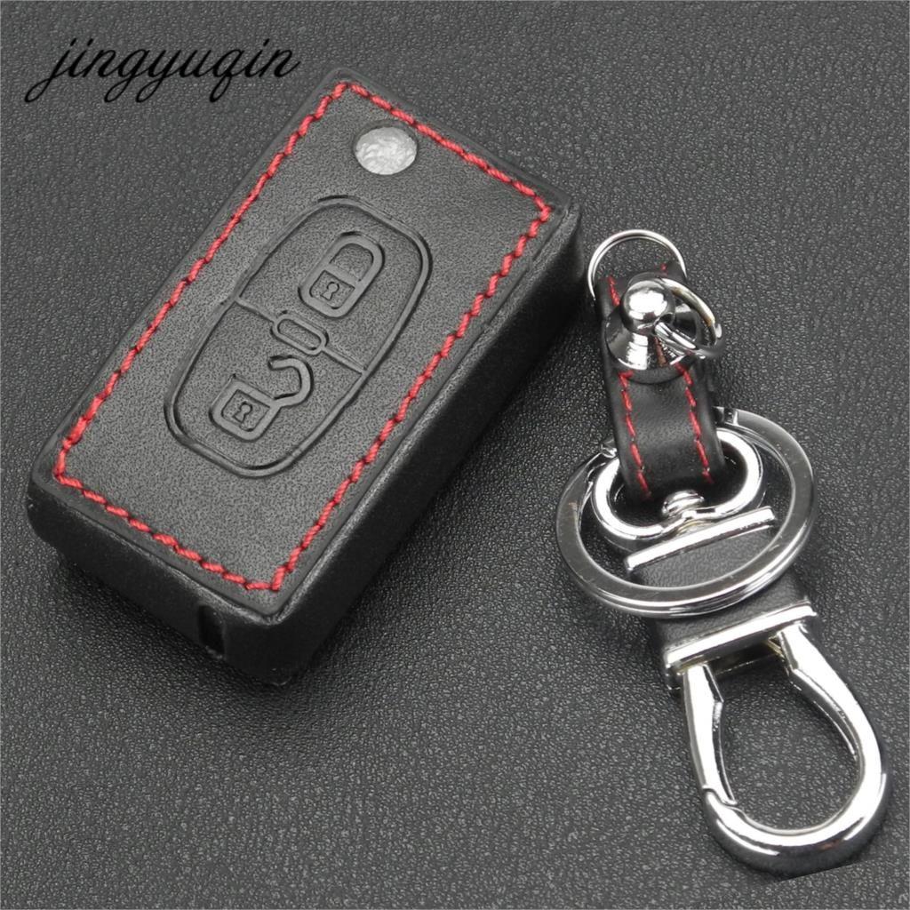 Jingyuqin Leder Auto Schlüssel Kette Abdeckung Fall Halter Für Peugeot RCZ 206 207 306 307 308 407 408 Für Citroen c2 C3 C4 C5 Quatre