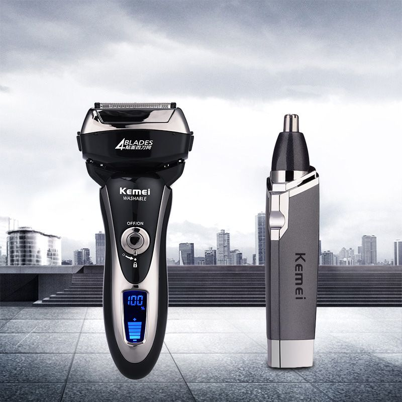 Kemei 4 Blade Electric Shaver 1.5Hours Quick Charge Washable Reciprocating Electric Razor+Ear Nose Trimmer Face Care Hair Trimer