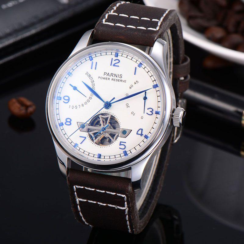 43mm Parnis weißes zifferblatt datum Gangreserve Mechanische Automatische Herren Uhr ST2505 Lederband