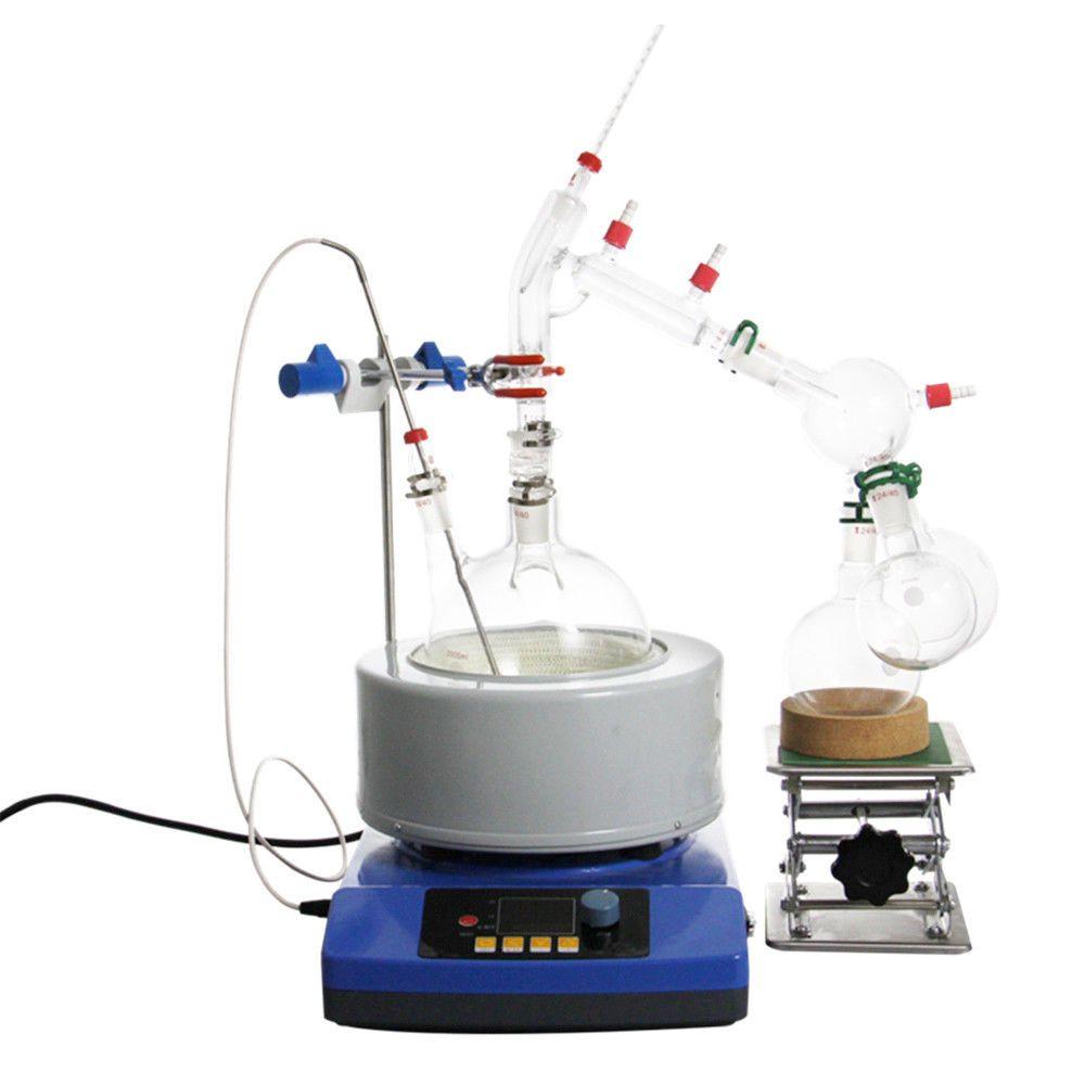 New 2000ml Lab Essential Oil Steam Distillation Glassware Kits Water Distiller Purifier w/Magnetic Stirring Heating Mantle