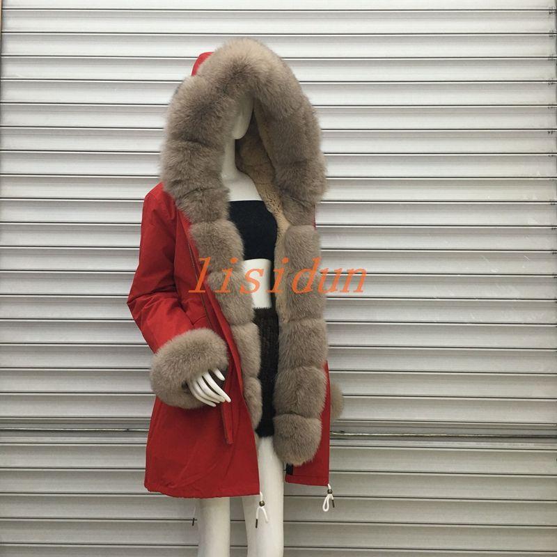 2018 lisidun Fuchs pelz volle mantel, natürliche silber fuchs mantel, lange frauen tragen, mit kapuze große haar kragen, Rex Kaninchen inneren liner.
