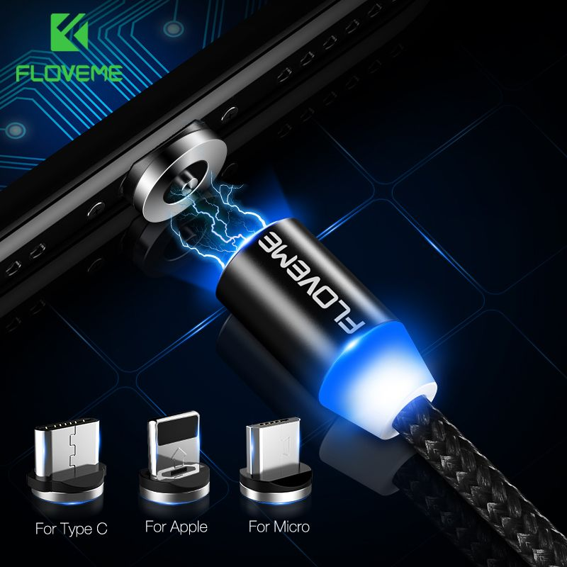 FLOVEME LED Magnetic Cable For Lightning Micro USB Type C Phone Cable For iPhone X 7 6 Xs Max 1m 2A Fast Charging Magnet Charger