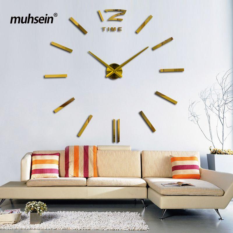 2017 muhsein серебряные иглы и Циферблат зеркало наклейка DIY настенные часы украшения дома настенные часы meetting комната настенные часы