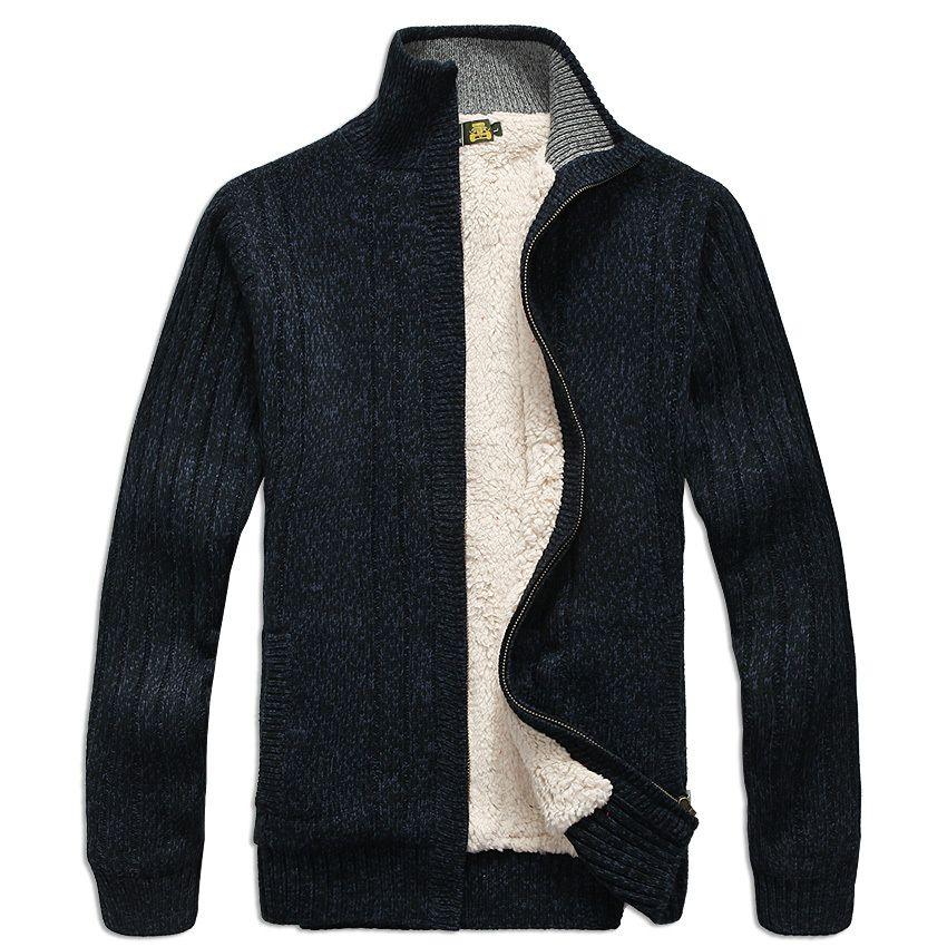 Hommes chandails à manches longues cardigan Casual gros pull tricot chandail vêtements manteau hiver pour mans
