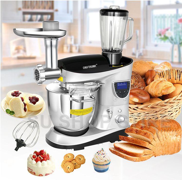 CHEFTRONIC 4 In 1 Multifunktions Küche Stand Mixer SM-1088, 1200 watt 7.4QT Präzise Wärme Edelstahl Mischen Schüssel mit Fleischwolf B