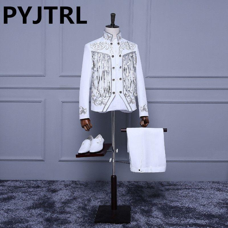 (Куртка + Брюки для девочек) для мужчин белый Блёстки мерцание кисточкой Вышивка двубортный свадебный этап хора церемоний вечерняя Костюмы