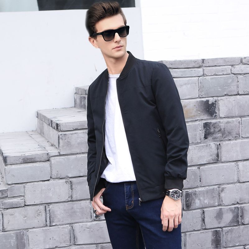 Для мужчин бизнес-повседневная куртка в британском стиле 2017 Весна и осень простые мужской модное пальто брендовая одежда куртка-пилот Для м...