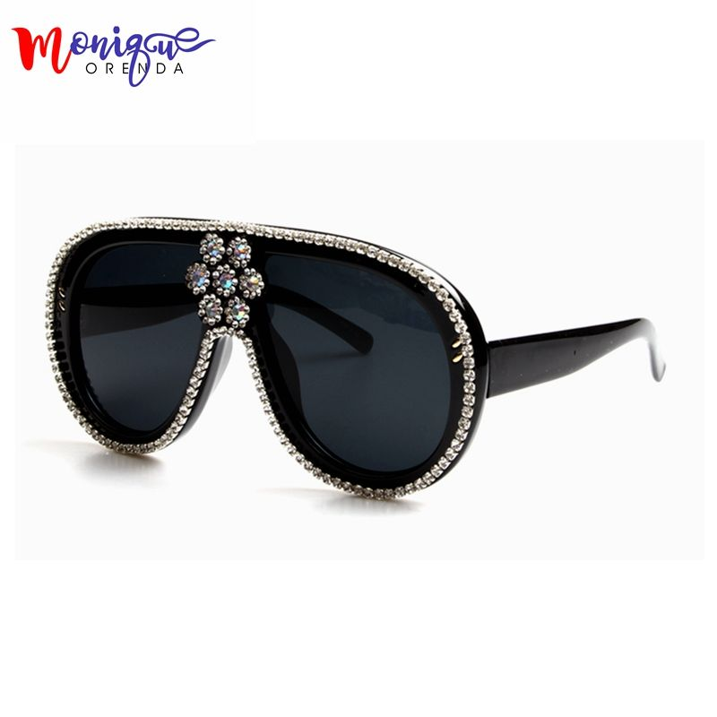 Oversized Sunglasses Women Luxury Brand Designer <font><b>Bling</b></font> Rhinestone Vintage Sun glasses Female Shades Big Frame Style Glasses