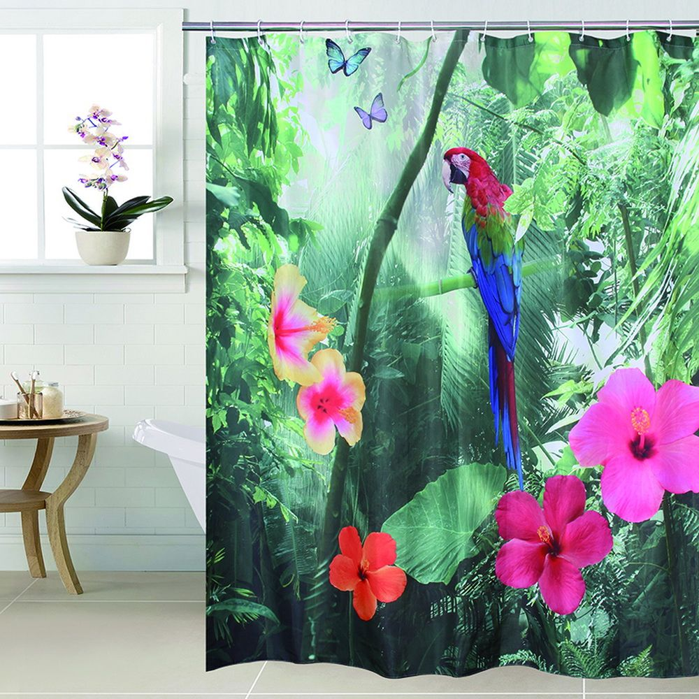 Joyeux arbre Polyester 3D rouge perroquet rideau de douche cascade 3D épaissir tissu salle de bain rideau imperméable rideau de bain.