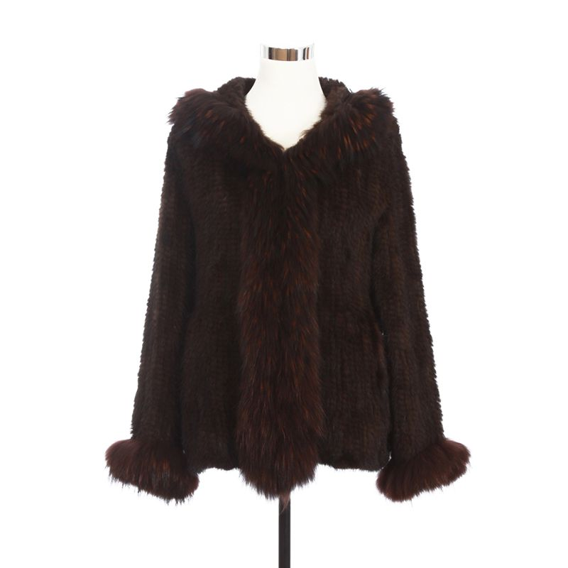 ZY81010 Real Knitted Mink Fur With Raccoon Fur Collar Trim With Hooded Fur Coats Female Mink Fur Overcoat