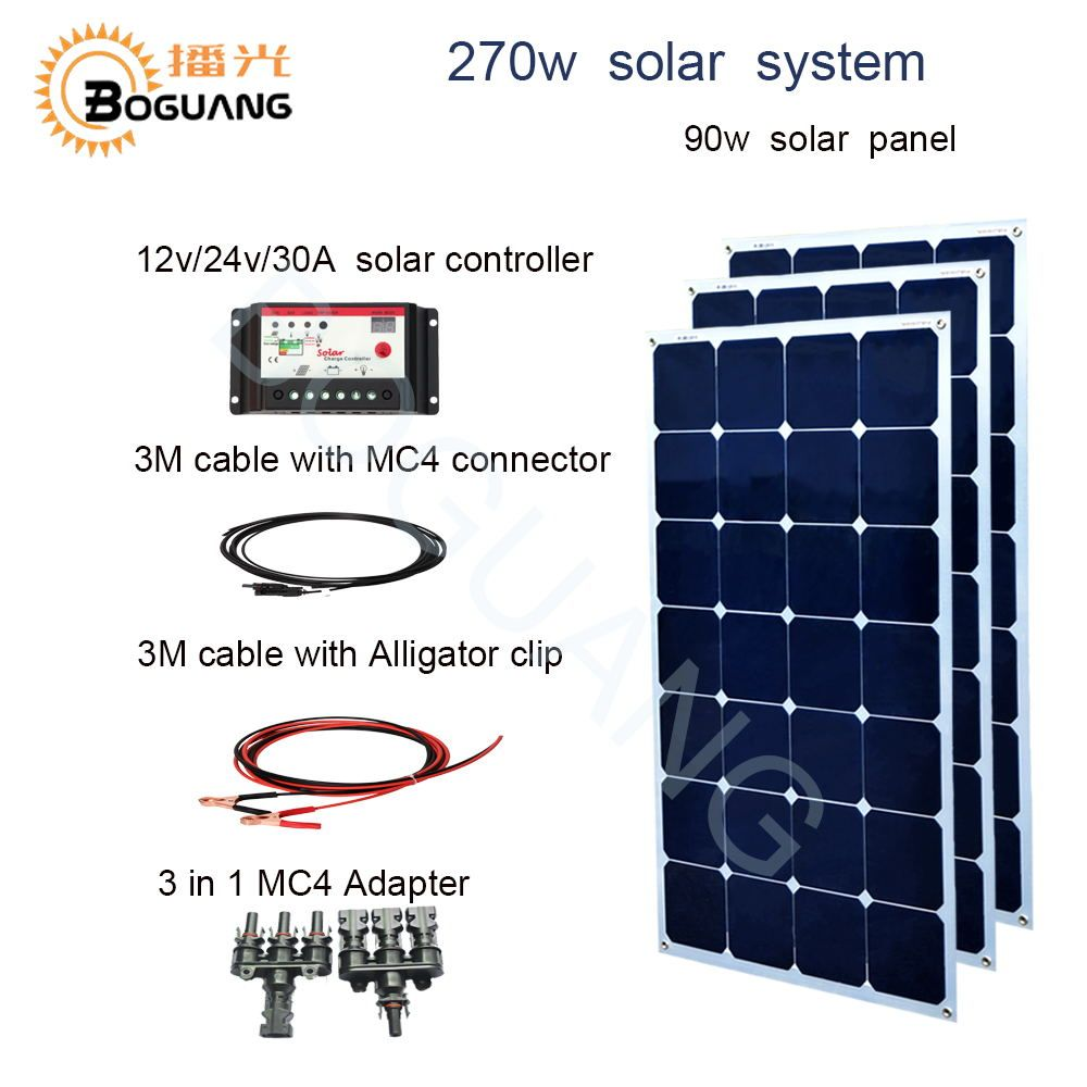 BOGUANG 270w solar system 90w solar panel cell 30A controller cable 3 in 1 adapter 12v battery yacht house roof car RV charge