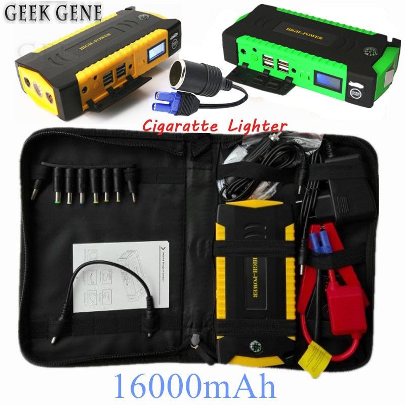 High Power Car Jump Starter 600A Peak Portable 16000mAh Power Bank 12V Car Charger For Car Battery Diesel Petrol Booster Buster