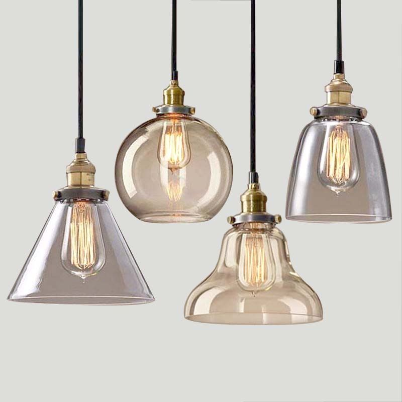 Light bulb pendant light copper glass restaurant pendant light single pendant light vintage retractable wall lamp american style