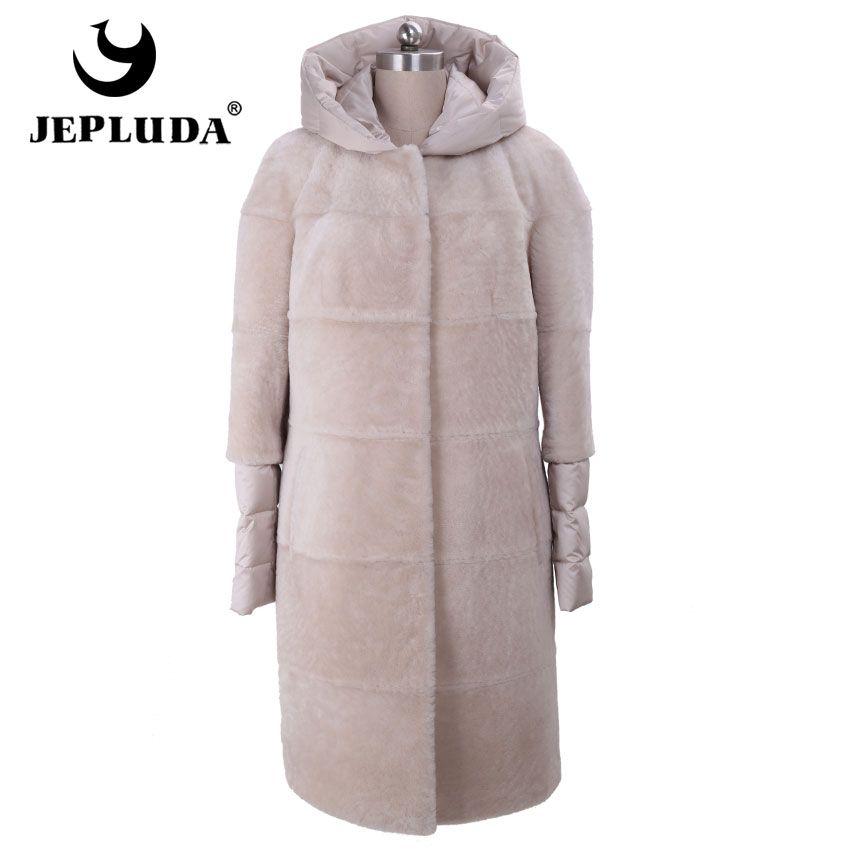 JEPLUDA New Ladies Slim Warm Women's Down With Genuine Leather Hood Coat Real Fur Vest Long Sheep Shearing Real Natural Fur Coat