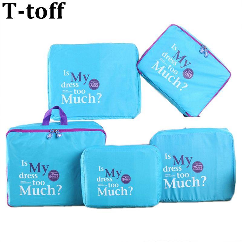 5Pcs Blue Nylon Mesh Zipper Portable Travel Luggage Storage Bag Clothes Organizer Case Suitcase Handbag Pouch Divider Container